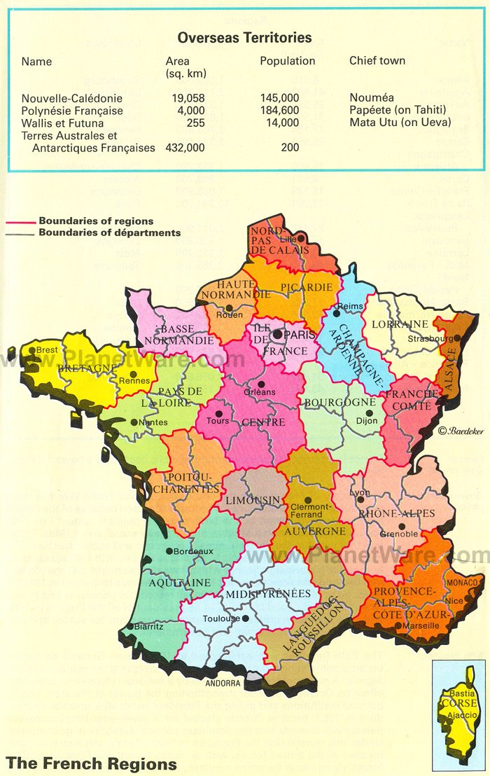 The French Regions Map. France is divided into many regions, including the