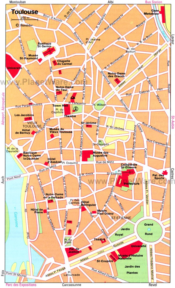 Toulouse Map - Tourist Attractions