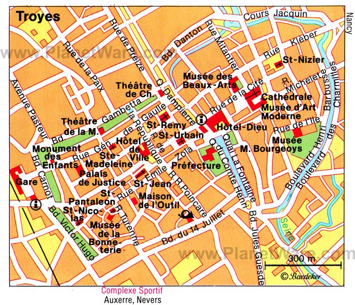 Troyes Map - Tourist Attractions