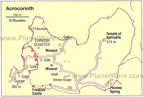 Acrocorinth - Site map