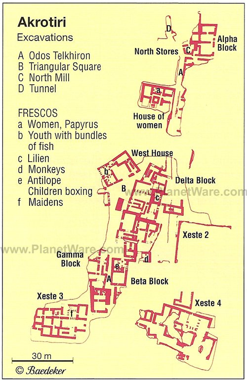 Akrotiri Map - Tourist Attractions