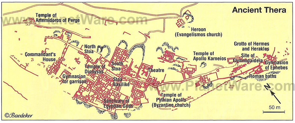 Ancient Thera - Site map