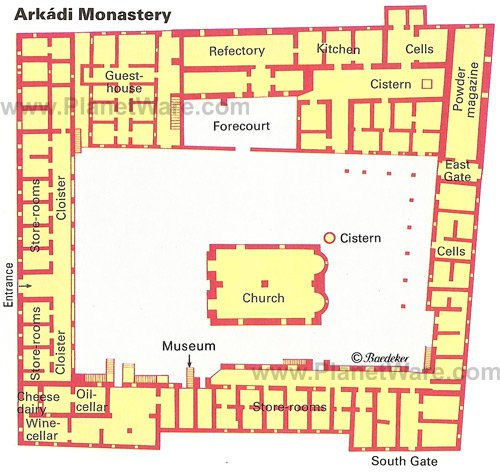 Arkadi Monastery - Floor plan map