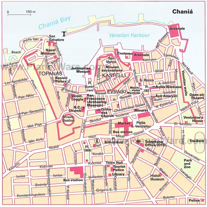 Chania - detailed Map - Tourist Attractions
