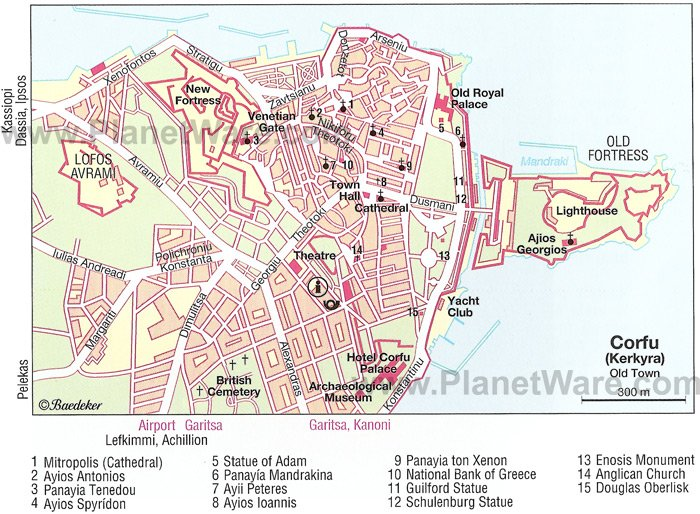 Corfu Old Town Map - Tourist Attractions