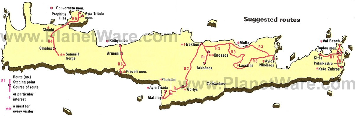 Crete - Suggested Routes Map - Tourist Attractions