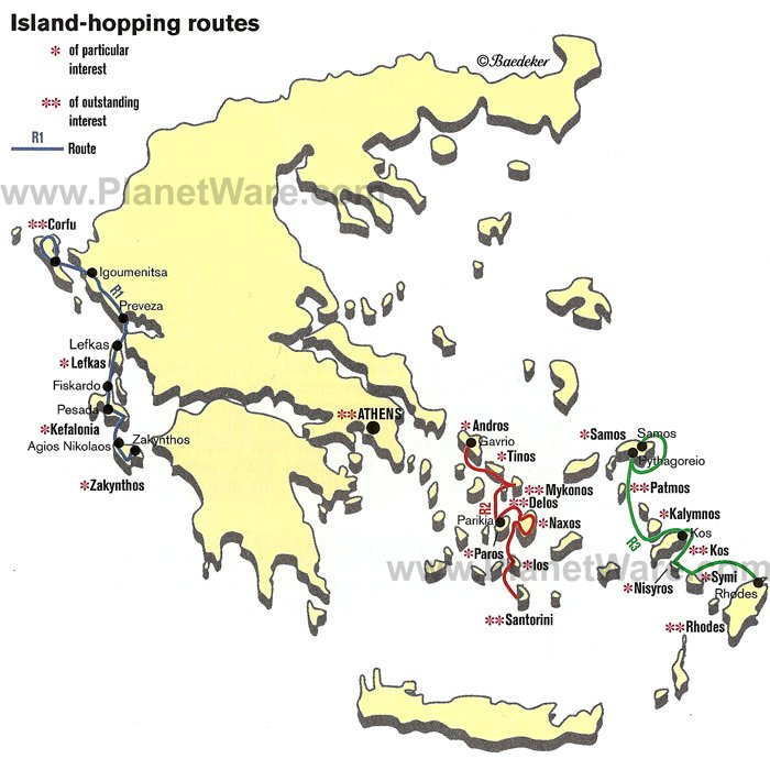Map of Greece Island hopping Routes PlanetWare