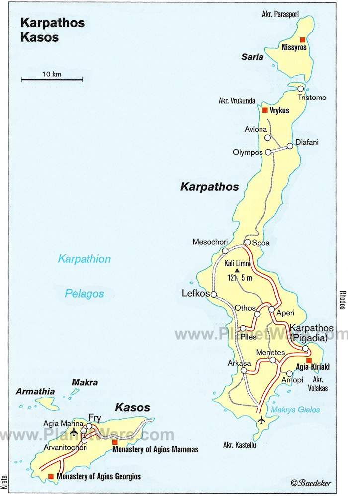 Karpathos Kasos map - Tourist attractions