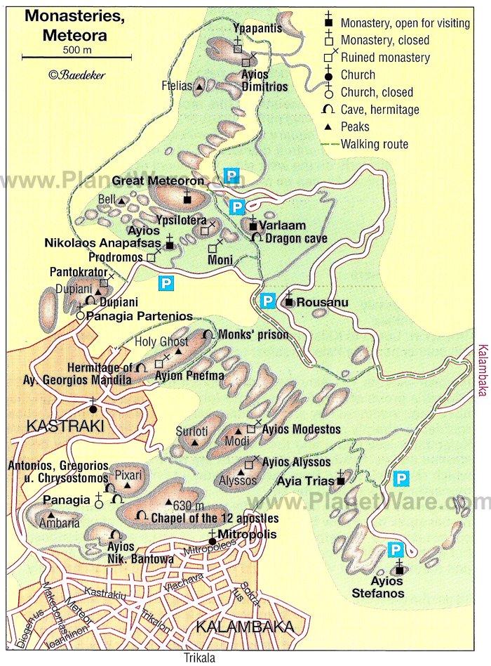 Mapa de Meteora