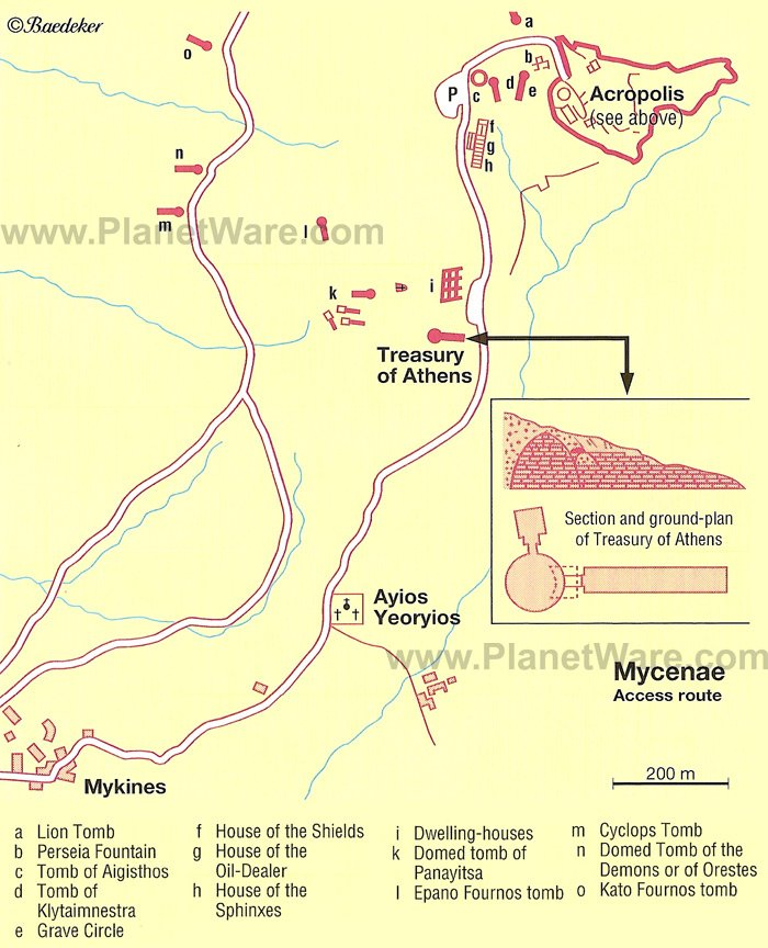 Mycenae Access Route Map - Tourist Attractions