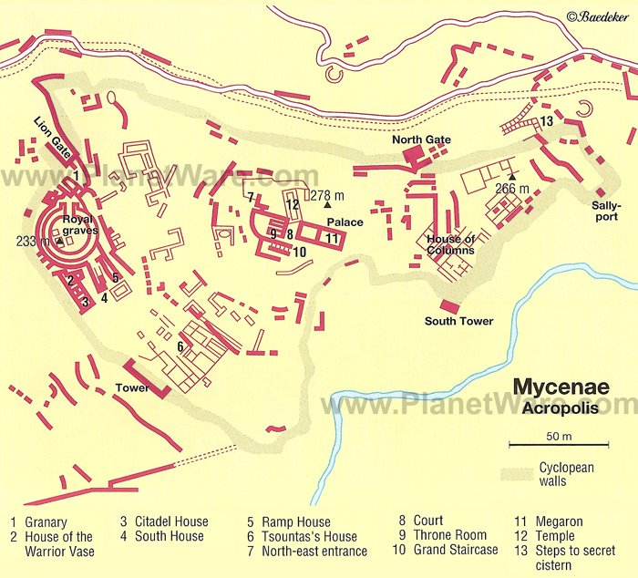 Mycenae - Acropolis Map - Tourist Attractions