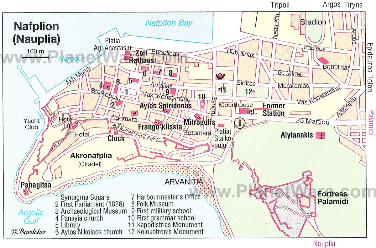 Nafplion Map - Tourist Attractions