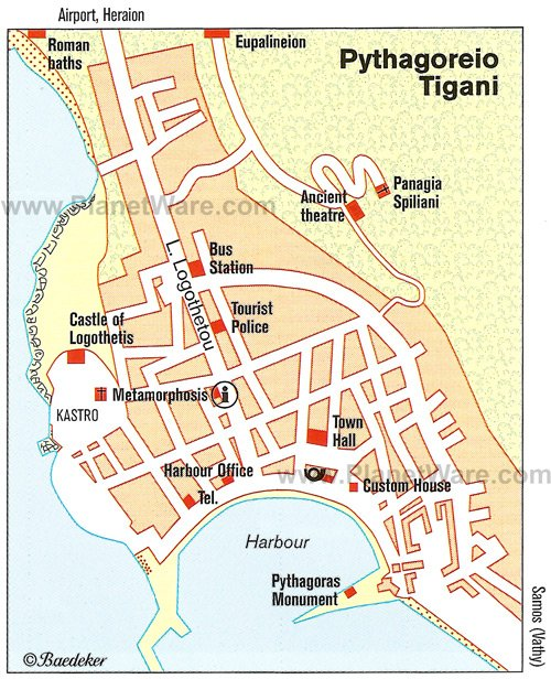 Pythagoreio Tigani Map - Tourist Attractions