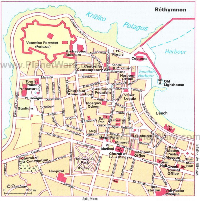 Rethymnon Map - Tourist Attractions
