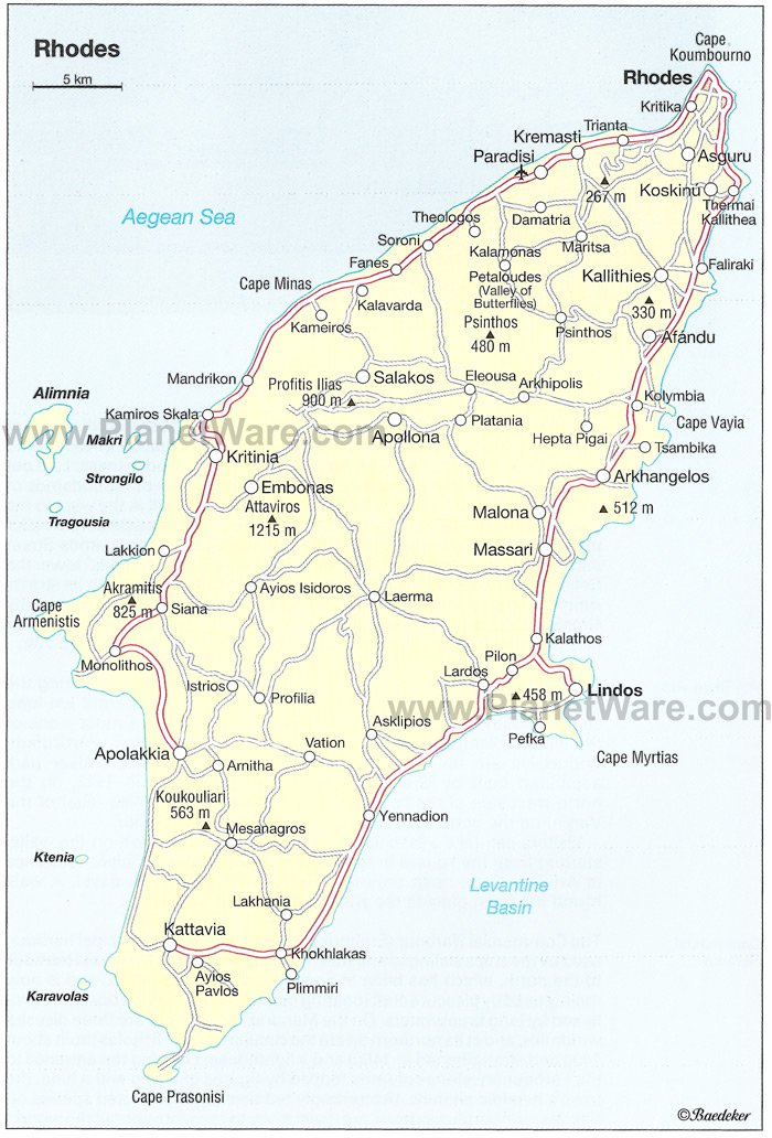 Rhodes Map - Tourist Attractions