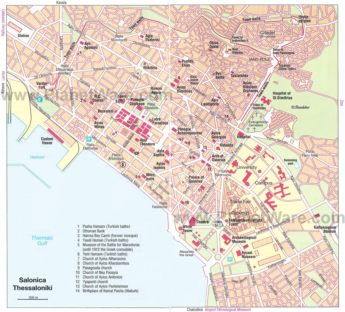 Salonica Map - Tourist Attractions