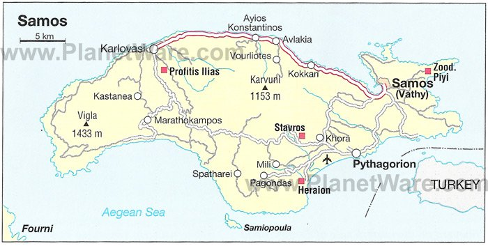 Samos Map - Tourist Attractions