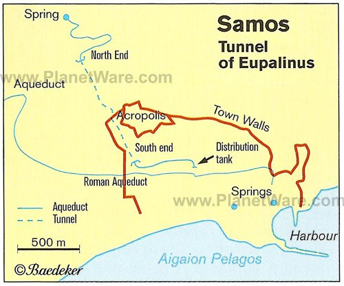 Samos - Tunnel Of Eupalinus - Map
