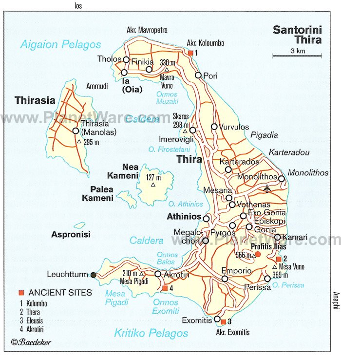 Santorin Map - Tourist Attractions