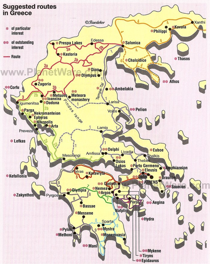 Map of Suggested Routes in Greece PlanetWare