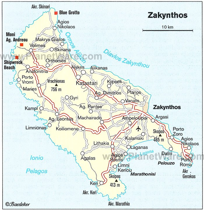 Zakynthos Map - Tourist Attractions