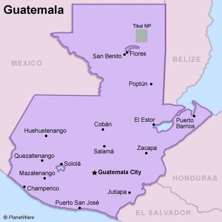 Guatemala is bordered by Mexico, Belize, Honduras, El Salvador,