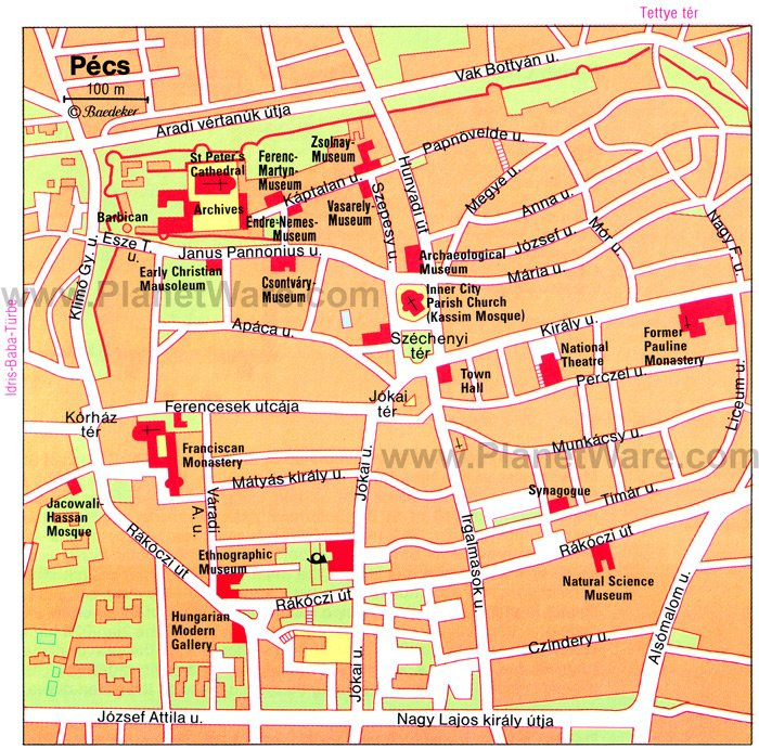 Pecs Map - Tourist Attractions