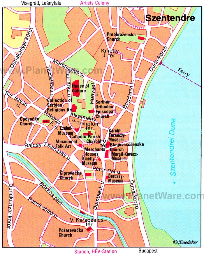 Szentendre Map - Tourist Attractions