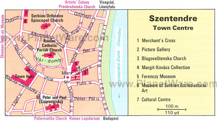 Szentendre Town Centre Map - Tourist Attractions