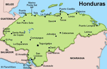 Honduras Travel Guide PlanetWare - Hondurus map