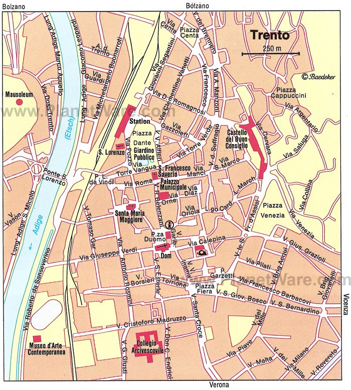 Trento Map - Tourist Attractions