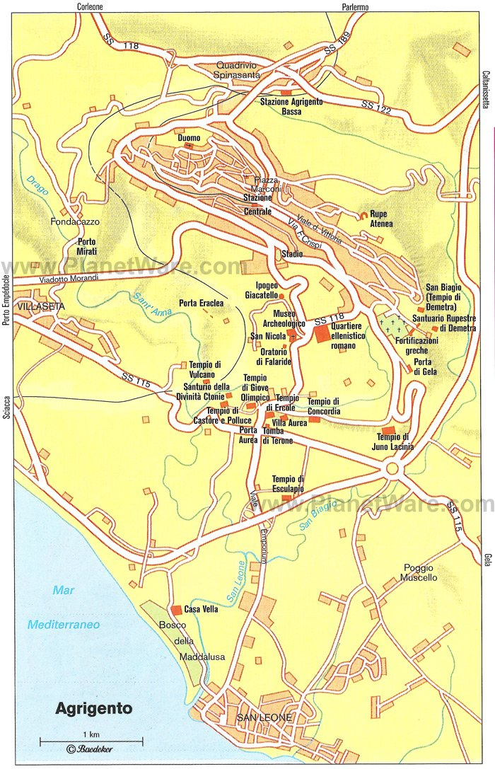 Agrigento Map - Tourist Attractions