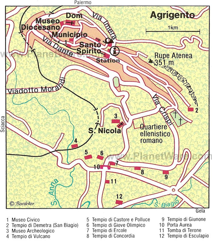 Agrigento Town Map - Tourist Attractions