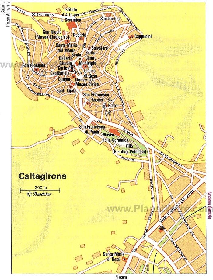 Карта Кальтаджироне / Caltagirone с отмеченными достопримечательностями. Путеводитель по Сицилии