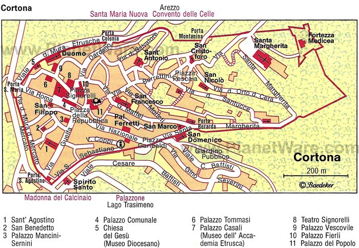 Cortona Map - Tourist Attractions