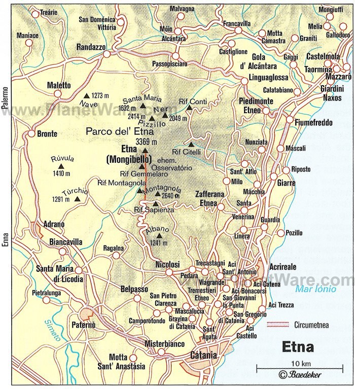 Etna Map - Tourist Attractions