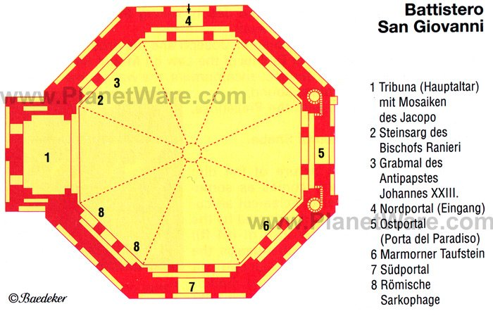 Florence - Battistero San Giovanni Baptistry - Floor plan map