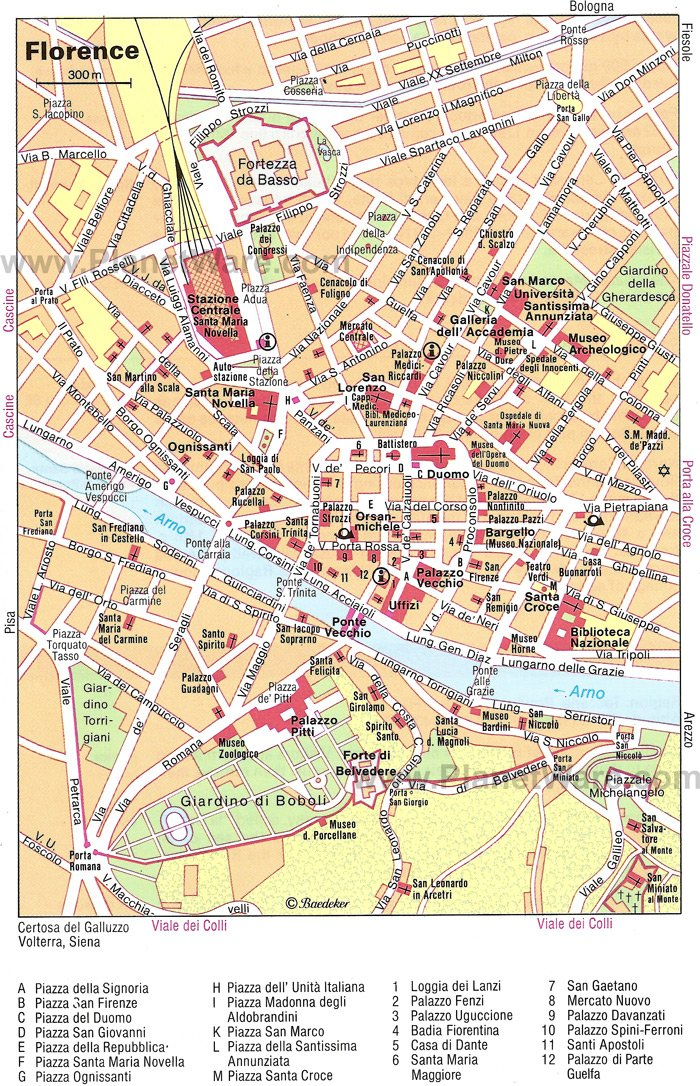 12 TopRated Tourist Attractions in Florence – Map Of Rome Showing Tourist Attractions