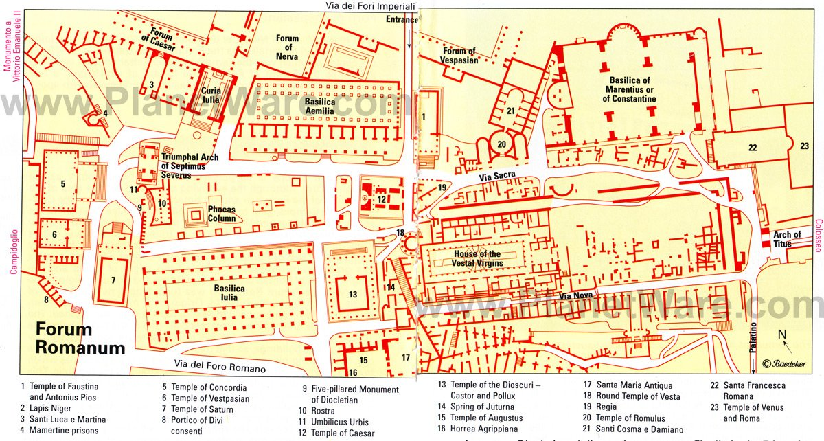 Forum Romanum - Site map