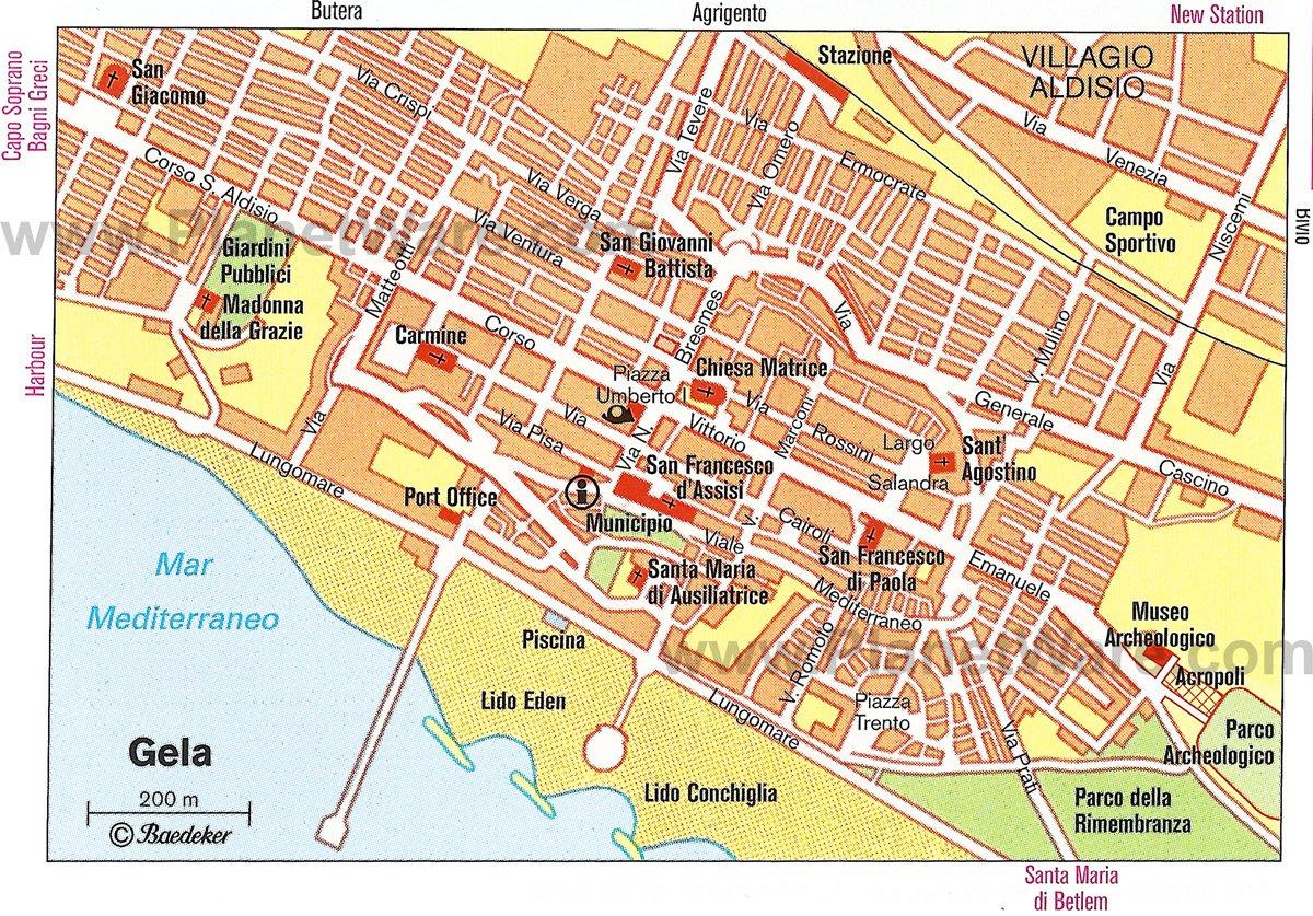 Карта города Gela, Сицилия