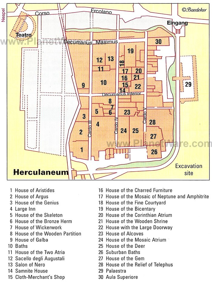 Herculaneum Map - Tourist Attractions