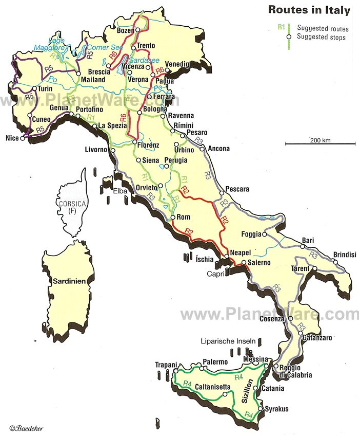 Map Of Italian Routes PlanetWare - Map of italy