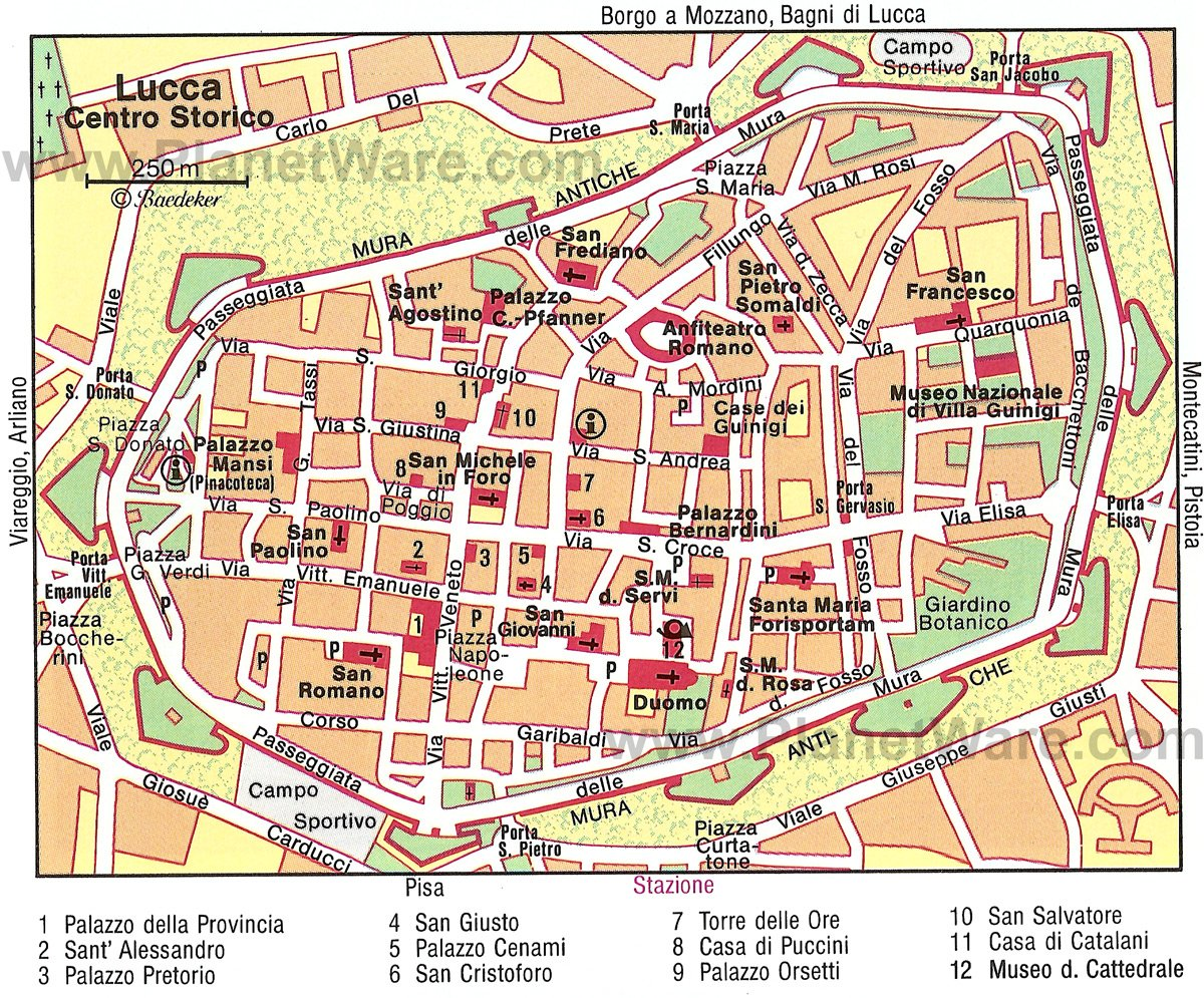 Lucca Map - Tourist Attractions