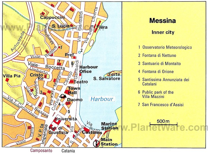 Messina Inner City Map - Tourist Attractions