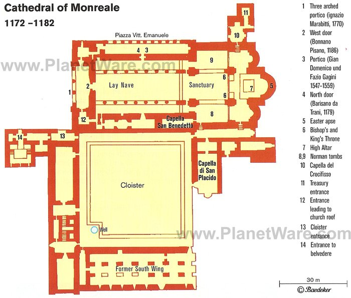 Monreale Cathedral - Floor plan map