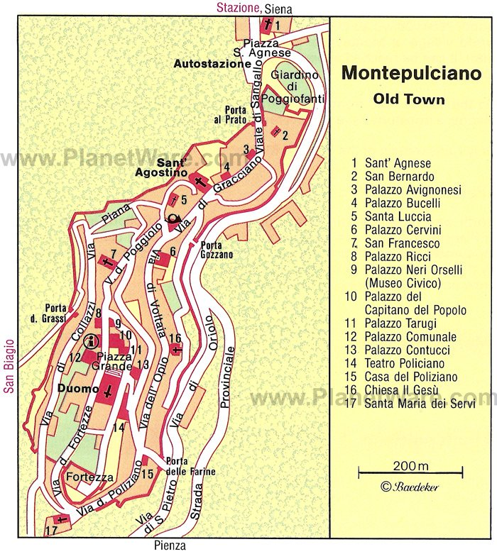 Montepulciano Map - Tourist Attractions