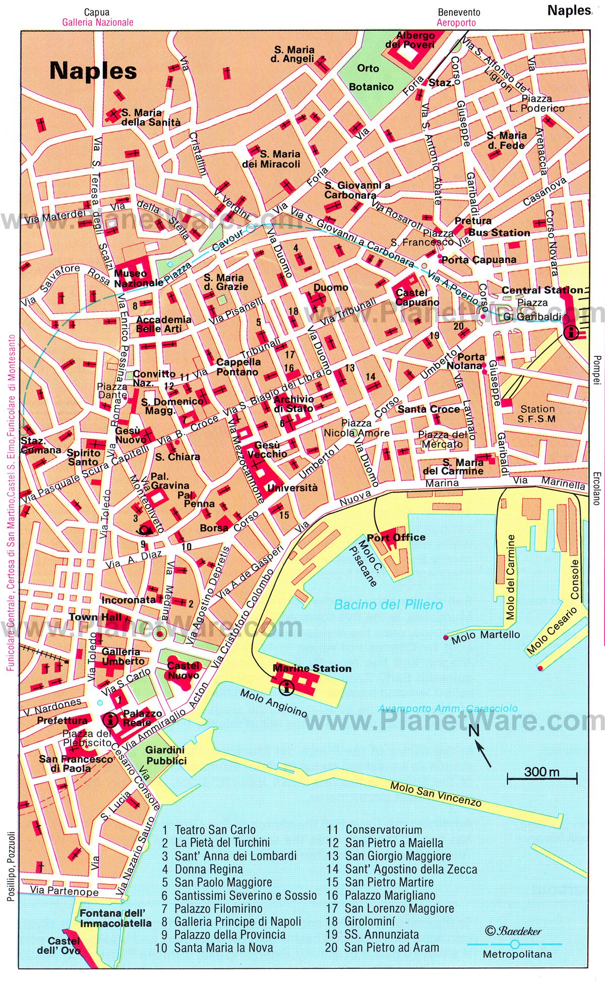 Naples Map - Tourist Attractions