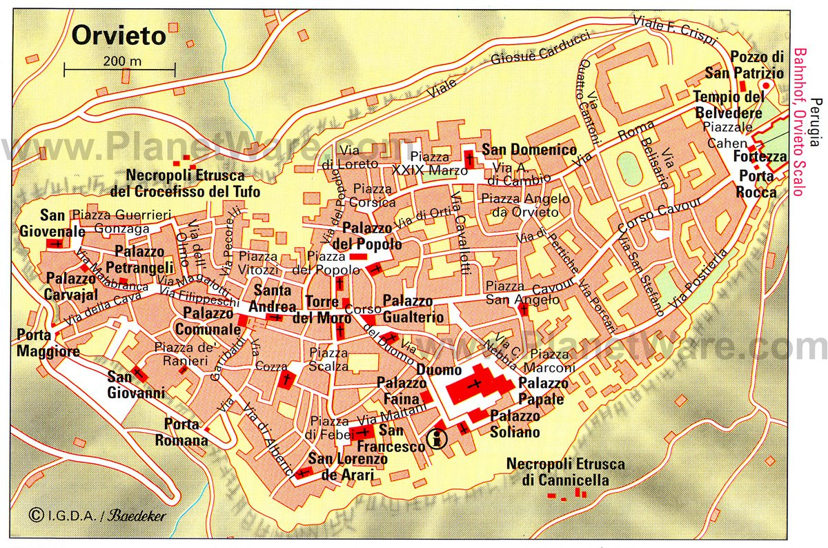 Orvieto Map - Tourist Attractions