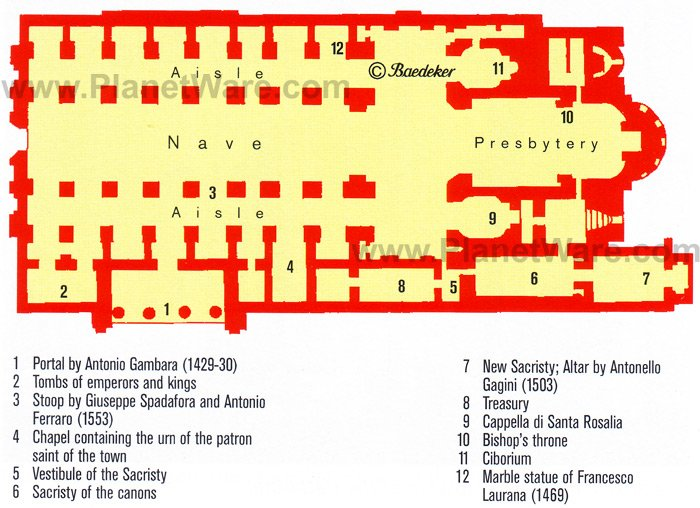 Palermo Cathedral - Floor plan map