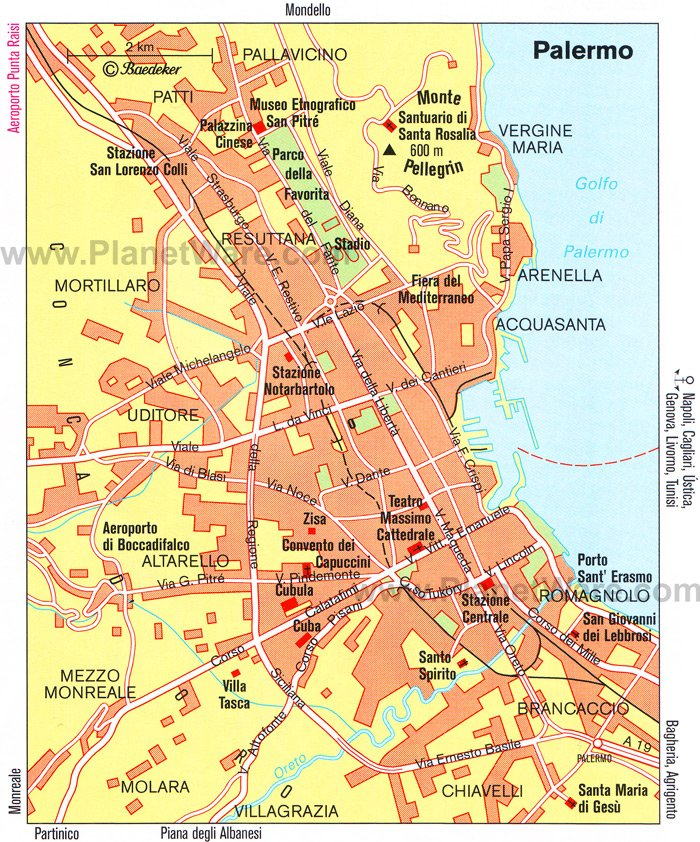 Palermo Map - Tourist Attractions